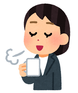 コーヒーで一服している人のイラスト(女性会社員・コーヒーカップ)