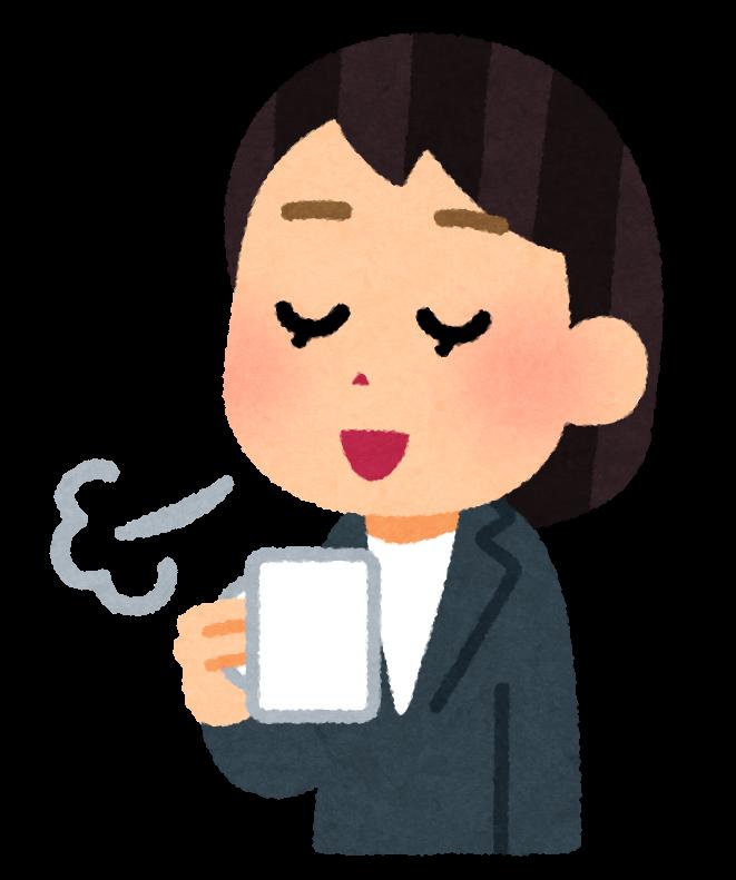 いろいろなコーヒーで一服している人のイラスト(女性会社員 ...