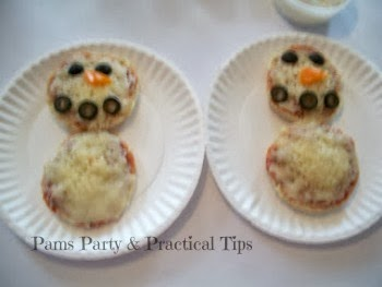 Snowman pizza muffins we ate at our snowman party