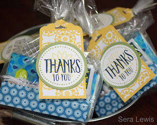 Thank you gifts for volunteers, made in a flash with the Perfectly Wrapped stamp set