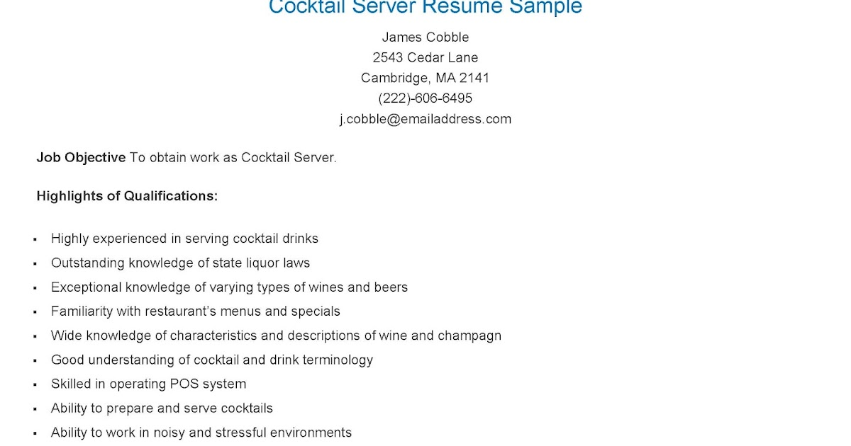 cocktail waitress resume samples resume samples cocktail server sample waitress templates - Sample Of Waitress Resume