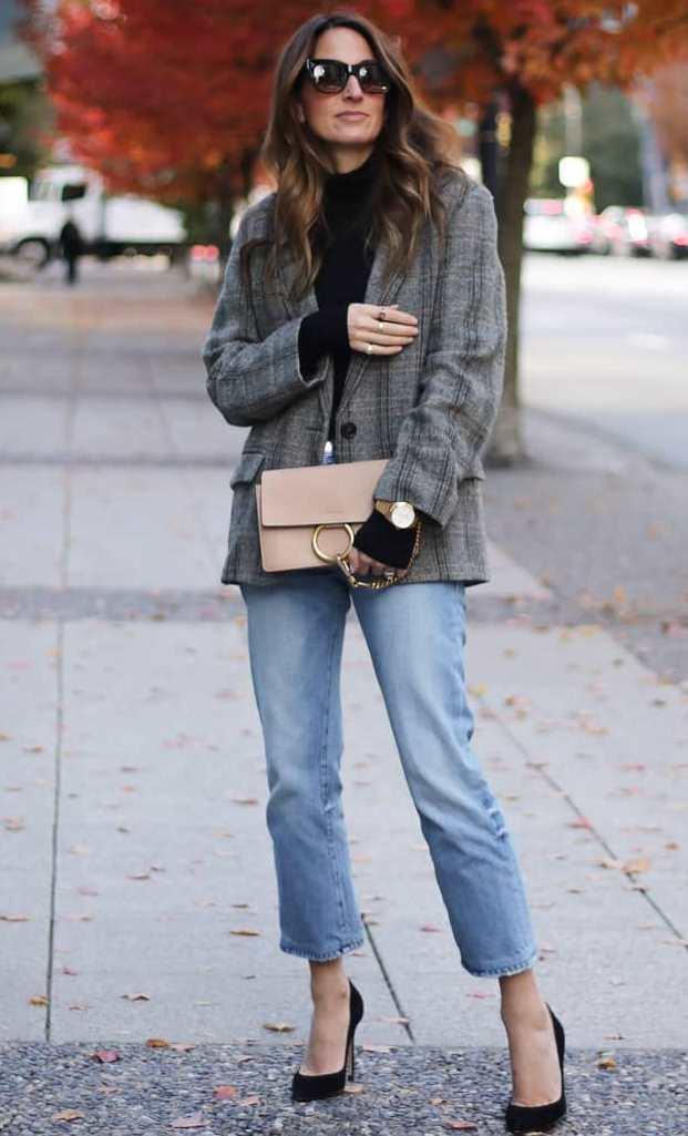 trendy fall outfit with a grey blazer : black sweater + nude bag + heels + jeans