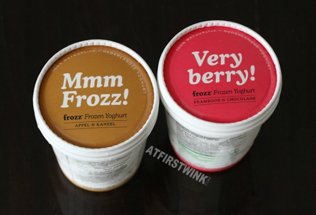 Frozz Frozen Yoghurt 150 ml cups (apple cinnamon) appel & kaneel (raspberry chocolate) framboos & chocolade