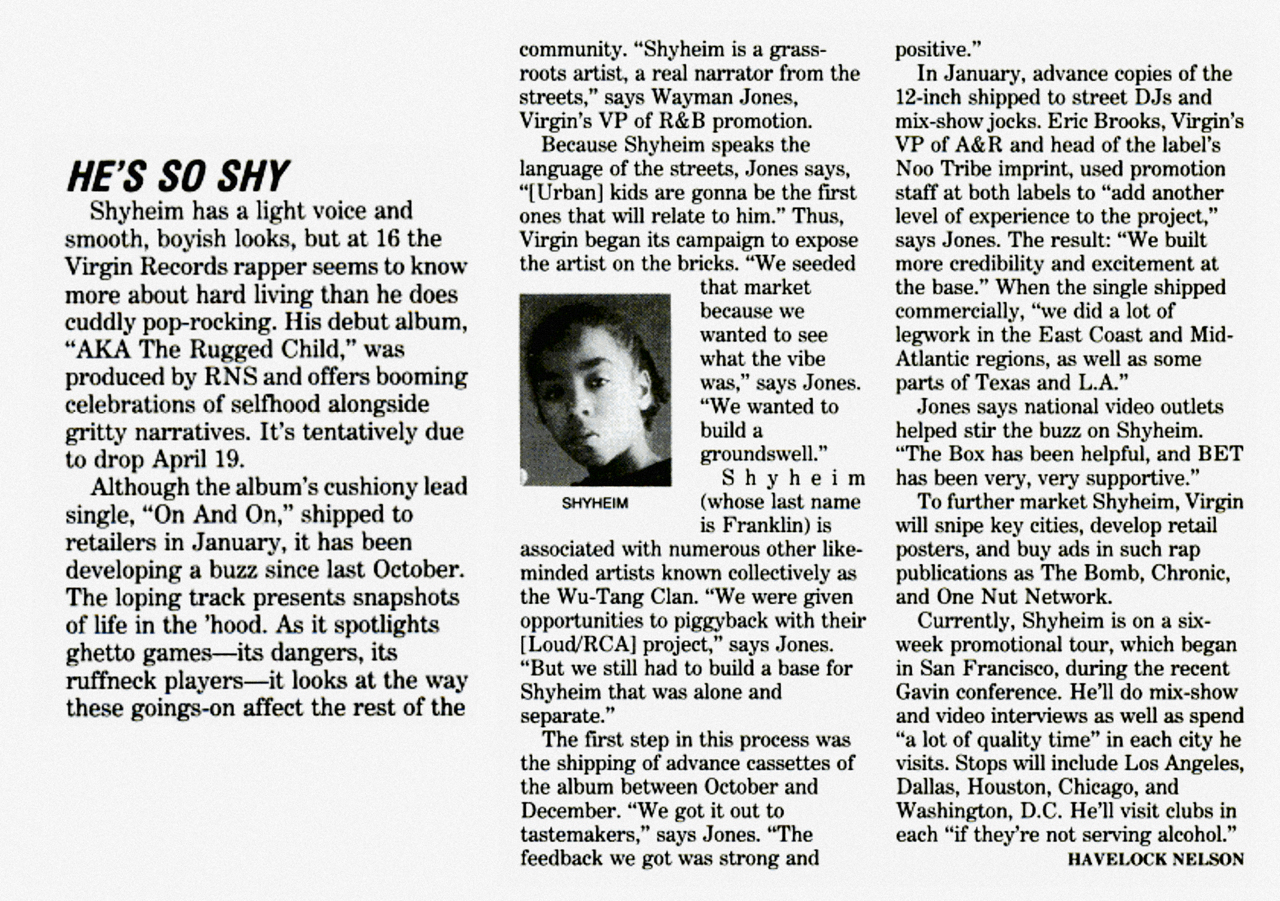 Shyheim AKA The Rugged Child Billboard Article March 26, 1994