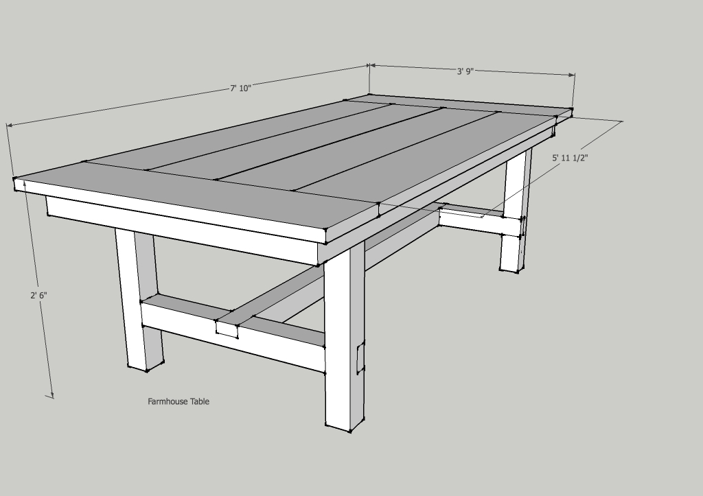 Free Farmhouse Table Plans: Dining Table Frame Plans PDF Woodworking