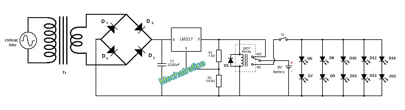 6v emergency light circuit diagram 6v image wiring automatic power failure emergency led light circuit mechatrofice on 6v emergency light circuit diagram