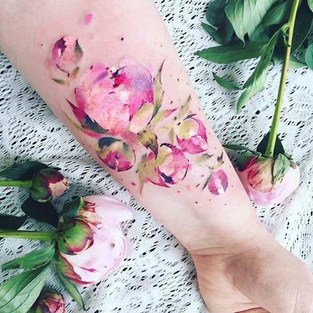 floral nature tattoos by Pis Saro