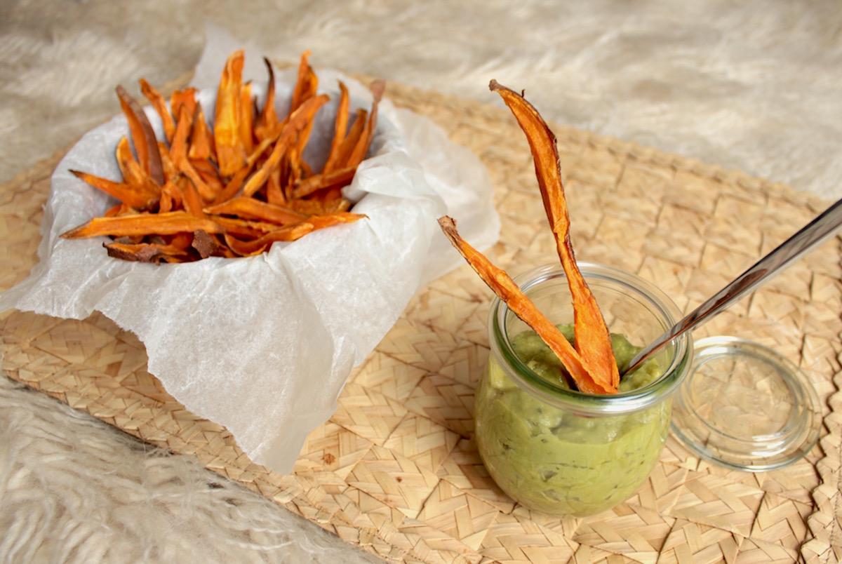 Süßkartoffel Süßkartoffelpommes Guacamole Avocado Solpuro