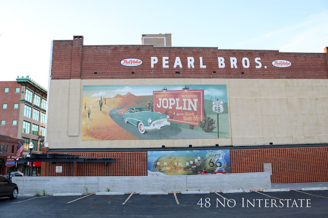 48 No Interstate back roads cross country coast-to-coast road trip Route 66 Joplin, Missouri mural