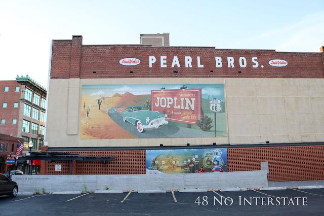 48 No Interstate back roads cross country coast-to-coast road trip Route 66 Joplin, Missouri mural