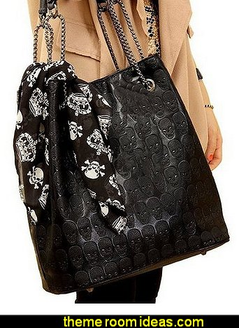 Skull Print Pu Hobo Tote Shoulder Bag Handbag Light Black