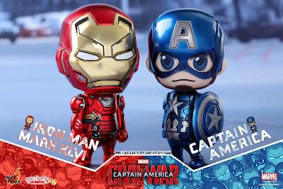 Captain America Civil War Metallic Edition Captain America & Iron Man Cosbaby Vinyl Figure Bobble Head Box Set by Hot Toys