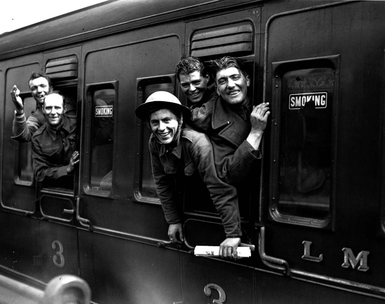 British troops arrive safely back in London.