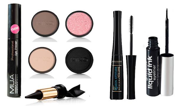 Productos utilizados. Maquillaje de noche con brillo.