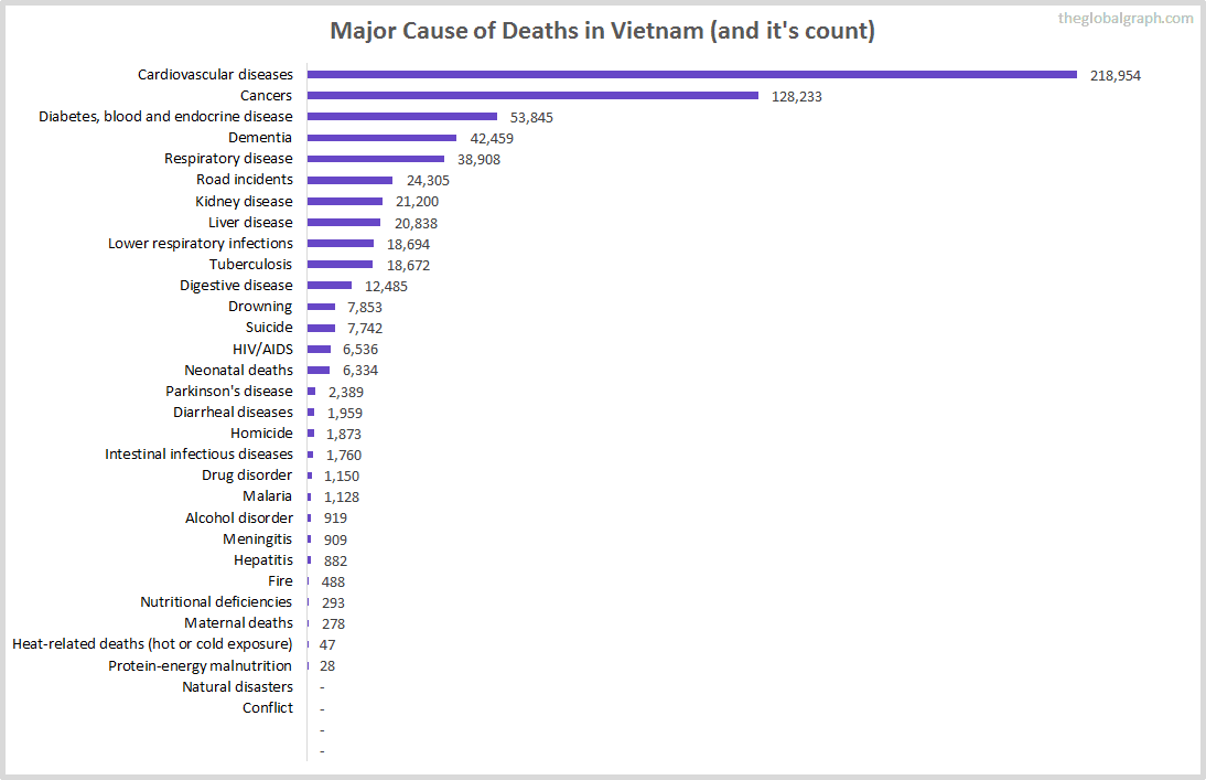 Major Cause of Deaths in Vietnam (and it's count)