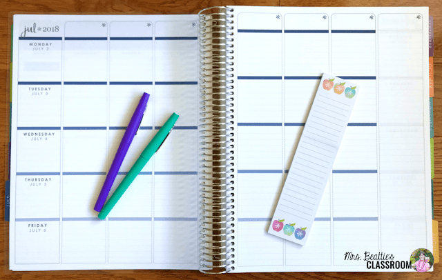 Photo of Erin Condren Teacher Planner weekly planning pages