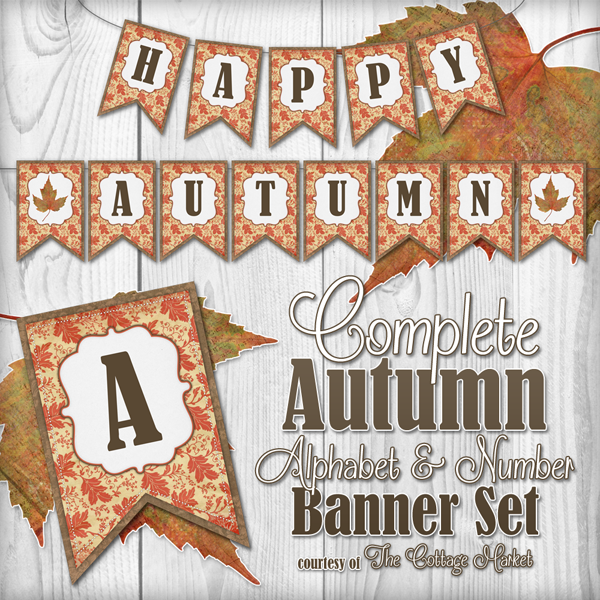 This printable autumn banner set is totally free.