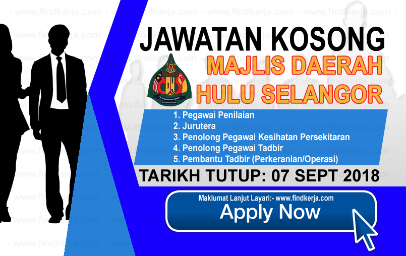 Jawatan Kerja Kosong MDHS - Majlis Daerah Hulu Selangor logo www.ohjob.info www.findkerja.com september 2018