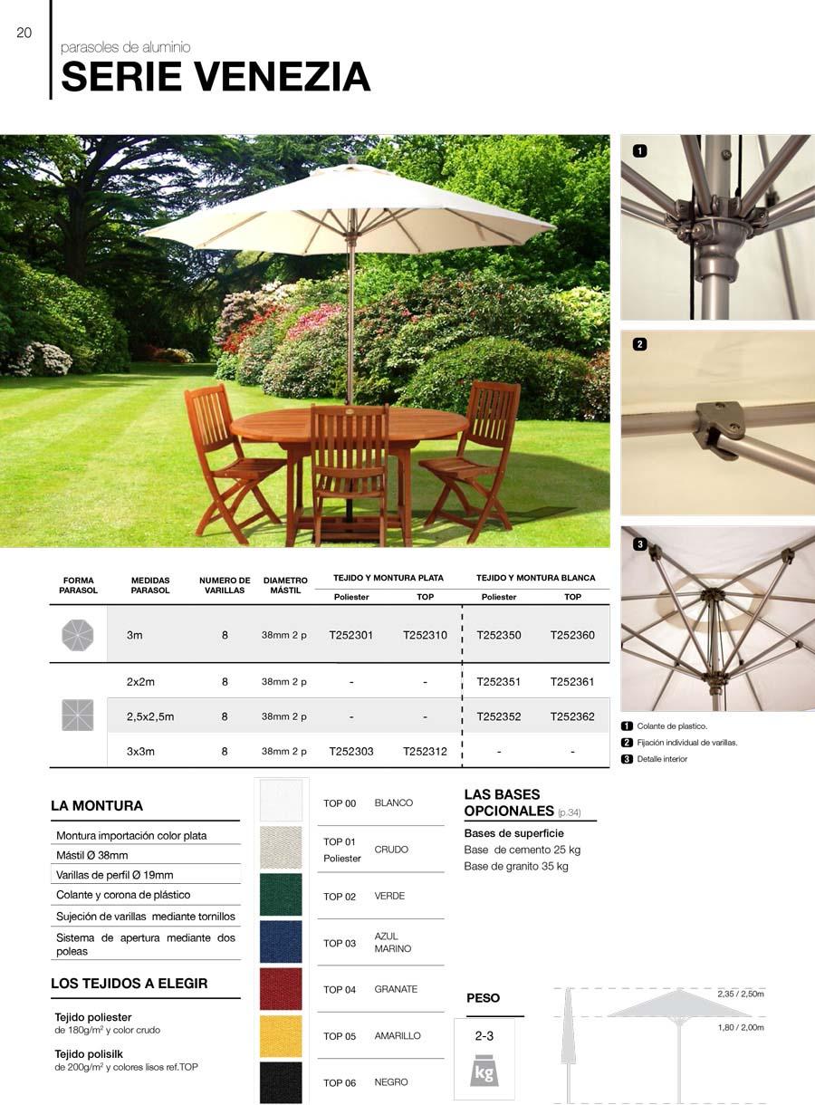 características parasoles de aluminio serie venezia
