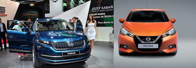 De izquierda a derecha - el Nissan Micra 2017 y el Skoda Kodiaq SUV 2017