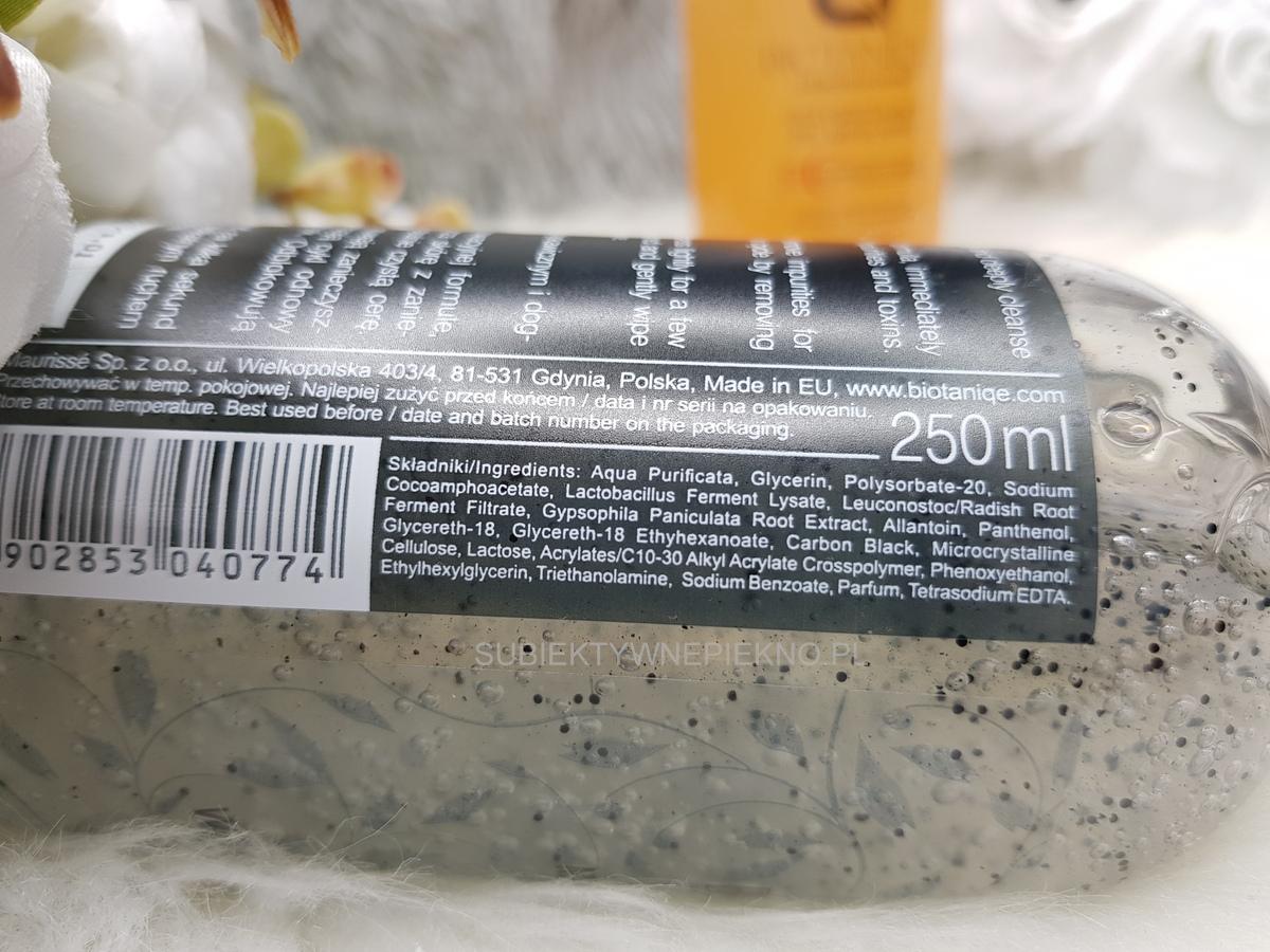 Oczyszczający węglowy żel micelarny Biotaniqe Pure Detox skład, opinie, blog