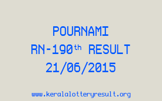 POURNAMI RN 190 Lottery Result 21-6-2015