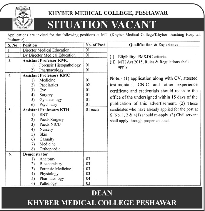 Assistant Professors Jobs In Khyber Medical College Peshawar 21 June 2017