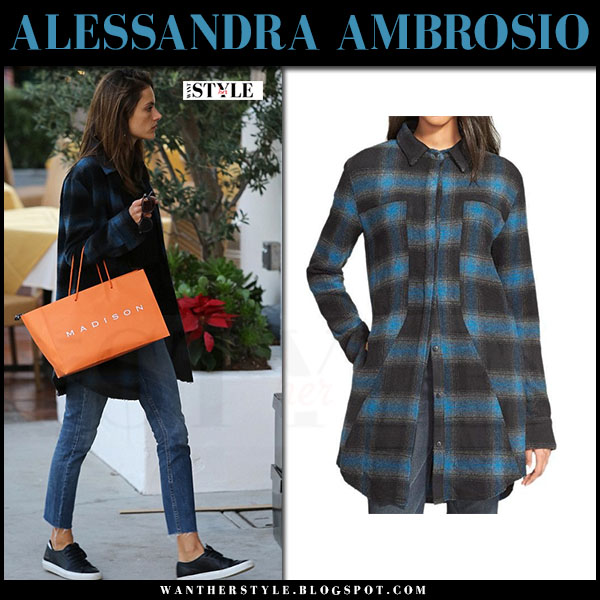 Alessandra Ambrosio in blue plaid shirt rta genevieve and skinny jeans what she wore