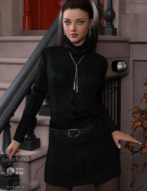 Autumn Breeze Sweater Dress for Genesis 3 Female