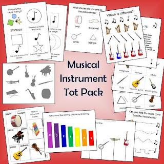 Paquete de imprimibles para infantil de instrumentos musicales