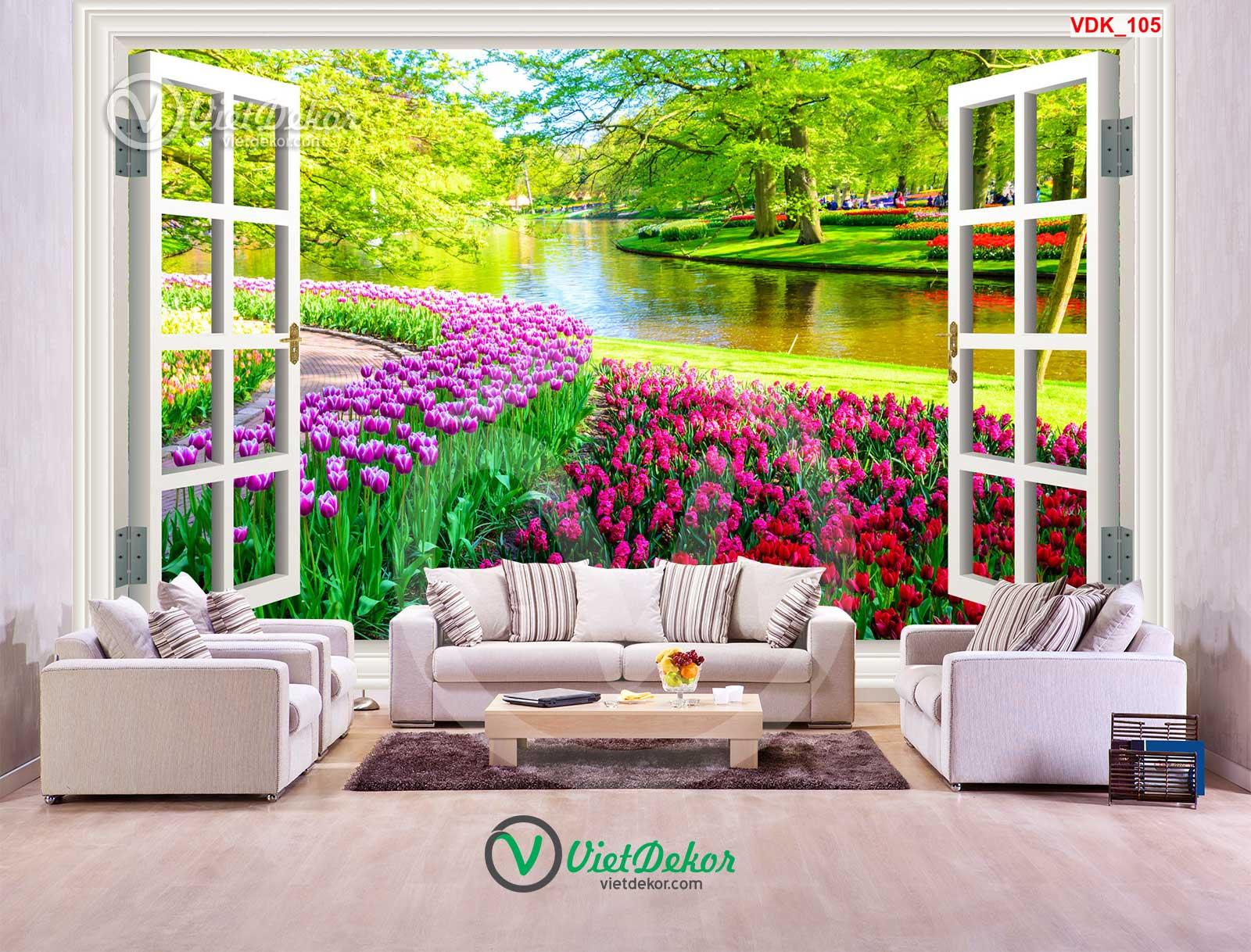 Tranh dán tường 3d cửa sổ phong cảnh vườn hoa