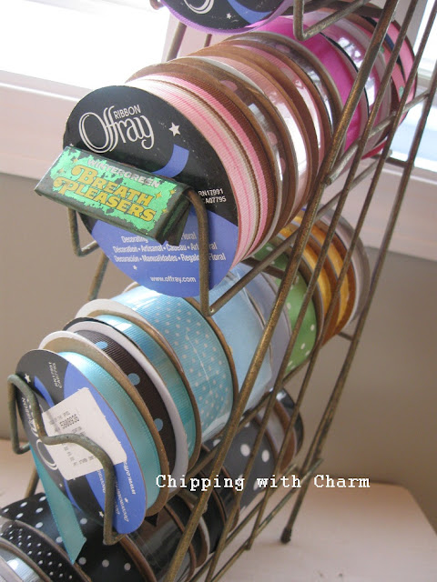 Chipping with Charm:  Vintage Candy Rack for Ribbon Storage...http://www.chippingwithcharm.blogspot.com/