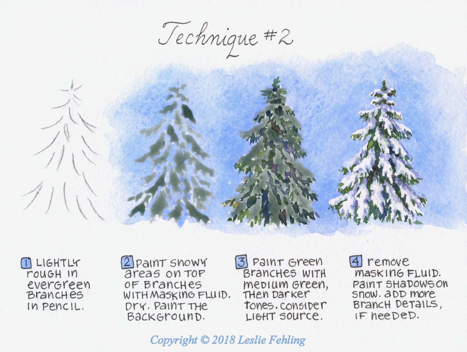 Everyday Artist: How to Paint a Snow-Covered Evergreen ...