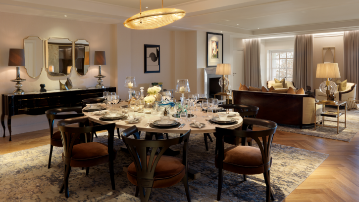 Luxury dining area in hotel suite Four Seasons London Ten Trinity Square