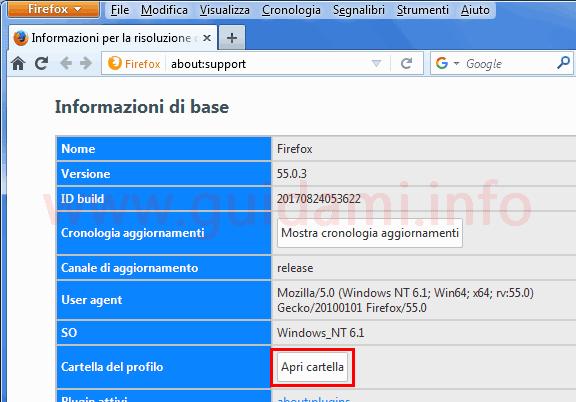 Firefox pagina interna con pulsante per aprire cartella profilo utente