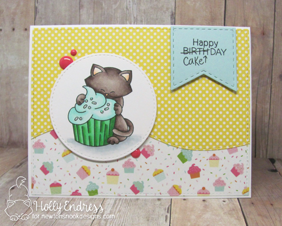 Cat and cupcake Birthday card by Holly Endress | Newton Loves Cake Stamp Set by Newton's Nook Designs