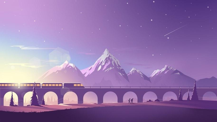 Train, Mountains, Landscape, Minimalist, Digital Art, 4K, #60
