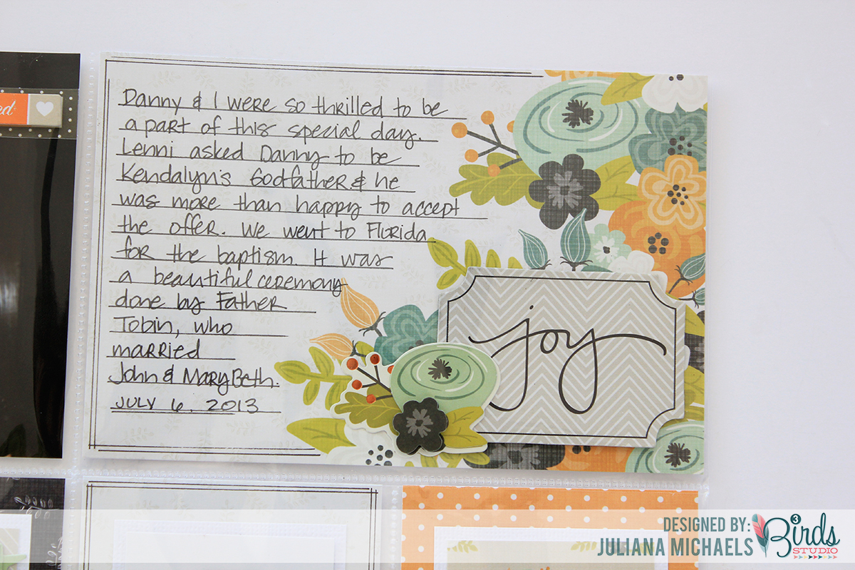 Joy Pocket Page Scrapbook Page by Juliana Michaels using 3 Birds Studio Graceful Season Collection detail