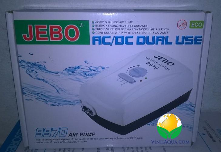 máy sủi oxy 2 dòng điện Jebo 9970 chủ dộng cung cấp oxy cho hồ thủy sinh ngay cả khi cúp điện