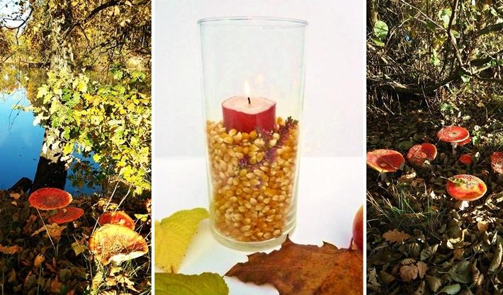 Kerze im Glas mit Herbstdeko