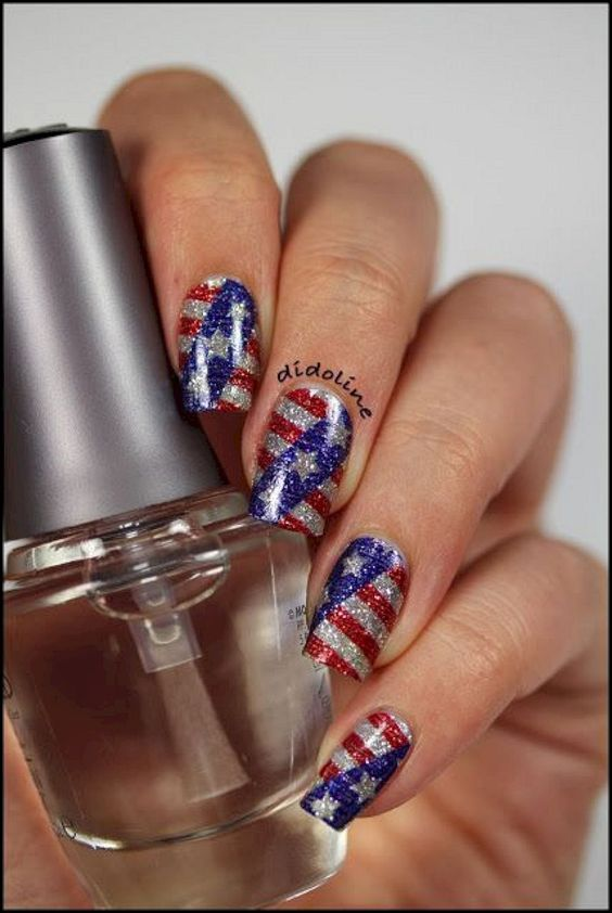 59 Fantastic Bright Summer And Fourth Of July Nail Design Ideas