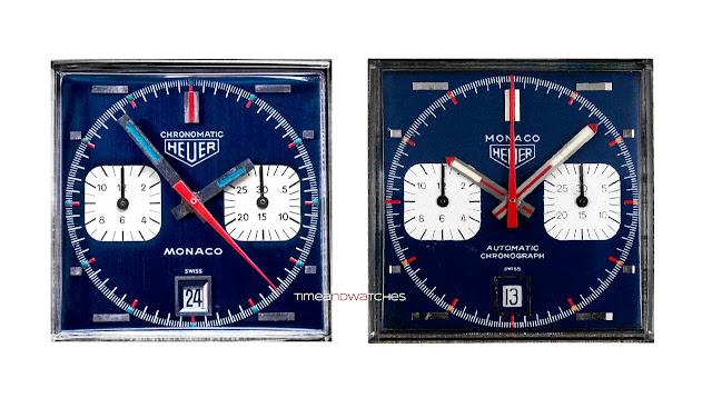 History of the TAG Heuer Monaco Heuer-Monaco-dial-comparison