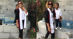 Tonto Dike And Son, Andre Rock Matching Outfit As They Step Out Together