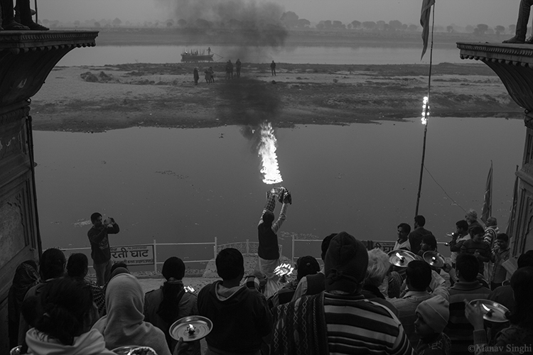 Maha aarti at the ghats of Yamuna river, Vrindavan.