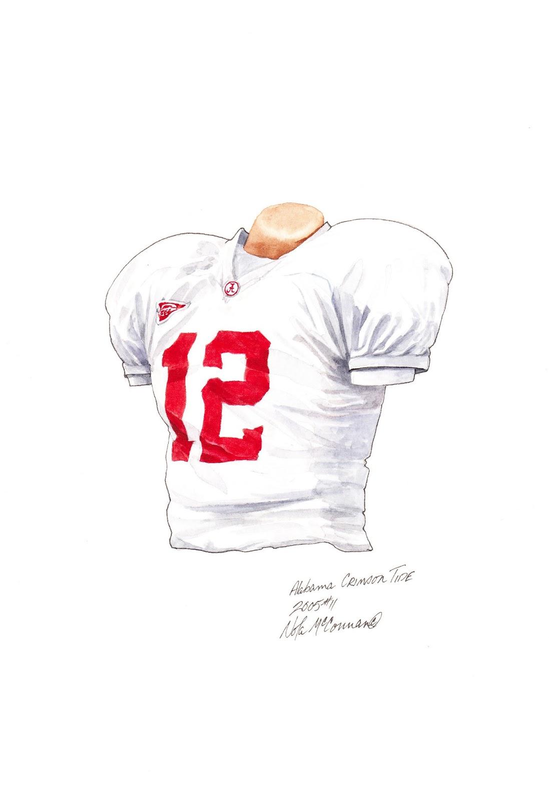 4e54fe6d8 2005 Alabama Crimson Tide football uniform original art for sale
