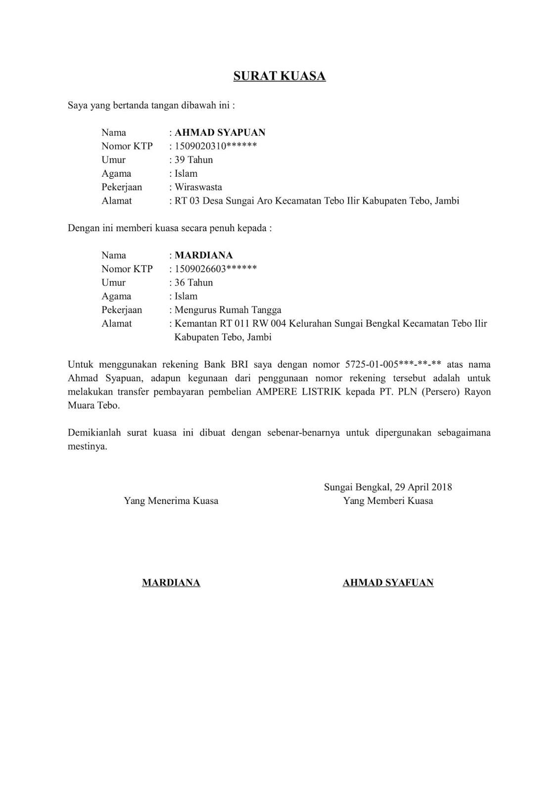 contoh surat orton contoh surat kuasa penggunaan nomor rekening bank untuk pembayaran