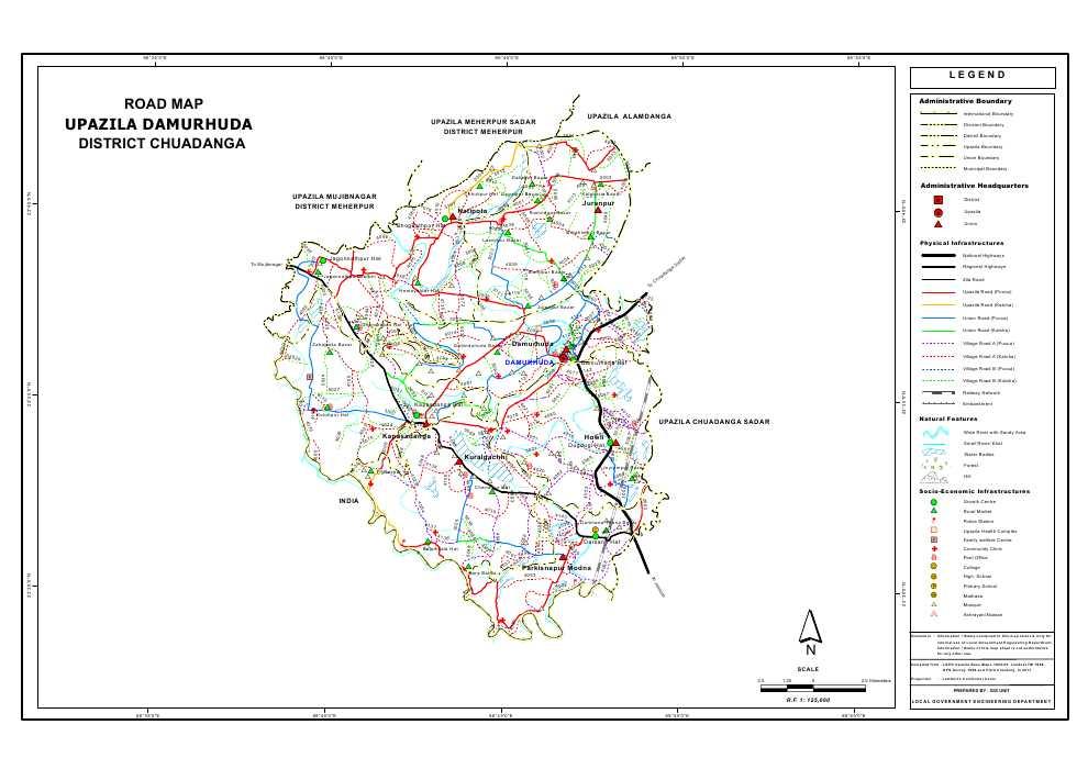 Damurhuda Upazila Road Map Chuadanga District Bangladesh