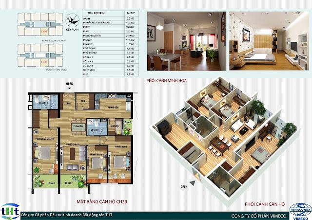 Mặt bằng căn 3B chung cư CT4 Vimeco