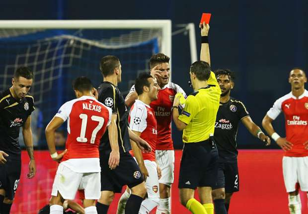 Dinamo Zagreb 2-1 Arsenal: Giroud red card leaves Gunners in lurch