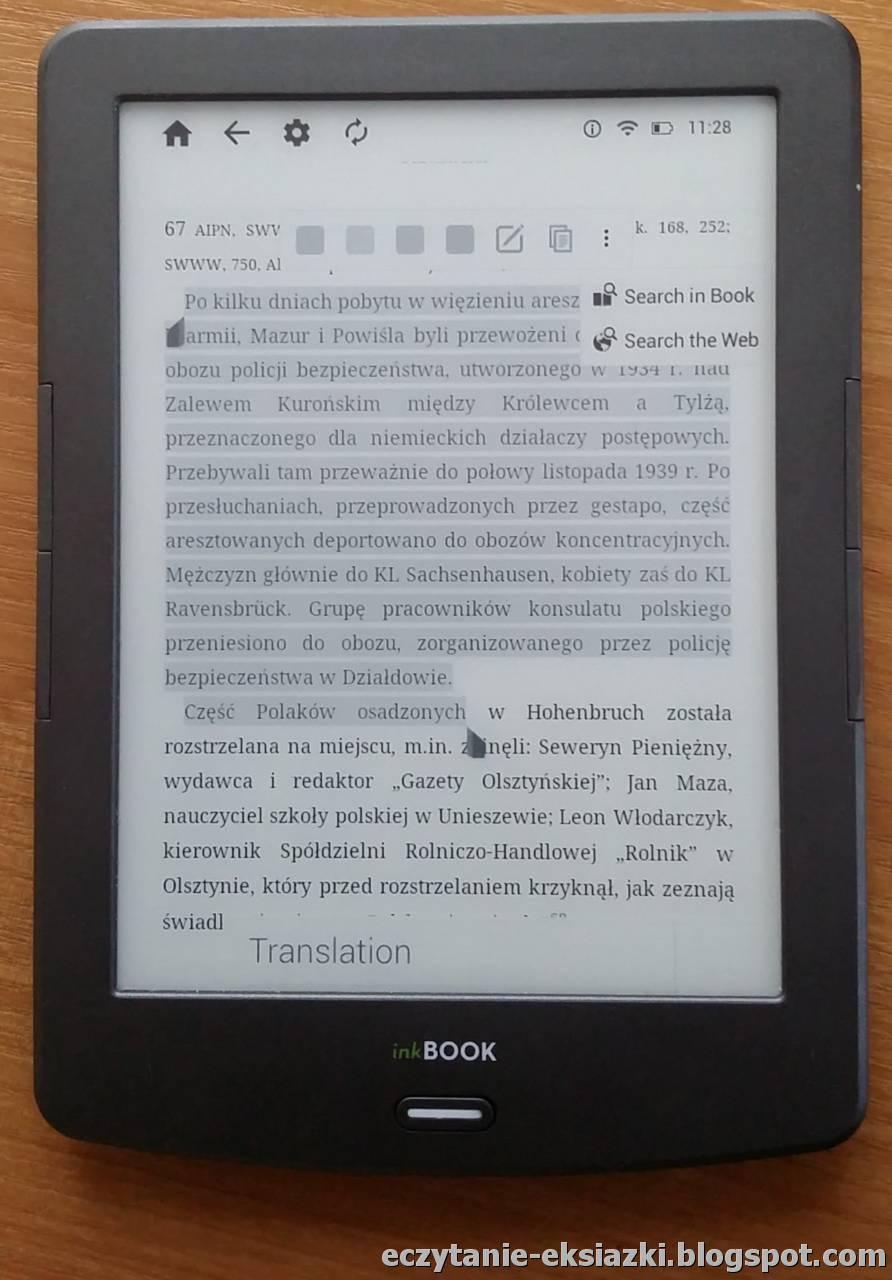 Aplikacja Kindle na InkBOOK Classic 2 - zaznaczanie tekstu